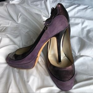 Dior Suede and Leather Purple Stiletto Heels